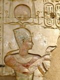 Temple of Kom Ombo, Egypt: polychromed relief of the Pharaoh Royalty Free Stock Photo