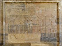 Temple of Kom Ombo, Egypt: relief of the Pharaoh with goddesses Royalty Free Stock Photo