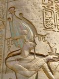 Temple of Kom Ombo, Egypt: relief of the Pharaoh. At the main column hall Stock Photography