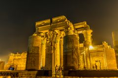 Temple of Kom Ombo. Turists visiting the temple of Kom Ombo at night, Egypt, October 23, 2018 royalty free stock photo