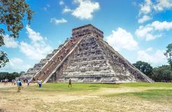 Temple of Kukulkan, pyramid in Chichen Itza, Yucatan, Mexico Stock Image
