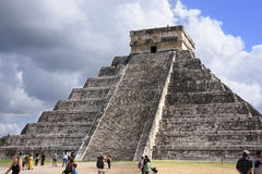 Temple of Kukulkan Pyramid El Castillo in Chichen Itza ruins, Royalty Free Stock Photography