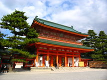 A Temple in Kyoto. With bright red beams and dark green roof tiles Stock Photography