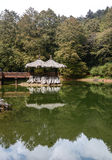 Temple on the lake in Alishan, Taiwan Royalty Free Stock Image
