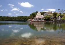 Temple on lake Grandee Bassin on  Mauritius Stock Images