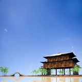 Temple in Lake with nice sky Royalty Free Stock Images