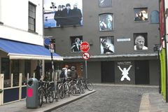 Temple Lane South with Wall of Fame in Dublin, Ireland  Stock Photos