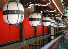 Temple lanterns. Interesting perspective with some Japanese lanterns-Kyoto,Japan Royalty Free Stock Photography