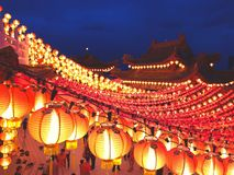 Temple with lanterns on Chinese New Year jn Malaysia stock photo