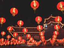 Temple with lanterns on Chinese New Year jn Malaysia stock images