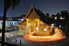 Temple in lao around with candle light Stock Image