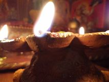 Temple and light. How temple is glowing with the little lught of the diya Stock Images