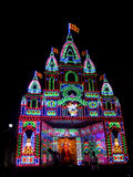 Temple of Lights. A beautiful goddess temple decorated with colorful lights on the occassion of Dussehra festival in India Royalty Free Stock Photography
