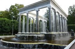 View of Temple Water Feature - St. Petersburg Landmarks. A temple like fountain in the gardens at Peterhof Palace Stock Photography
