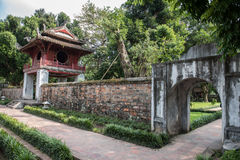 Temple of Literature Building. Architecture inside the Temple of Literature in Hanoi, Vietnam. This building is of utmost cultural importance and is beautifully Stock Photo