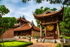 Temple of literature. Drum tower in the Temple of Literature,hanoi,veitnamthis place is public place to visit royalty free stock photos