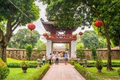 Temple of Literature in Ha Noi. Hanoi, Vietnam - June 21 2016 : Temple of Literature, the first university schools in Ha Noi, Vietnam as Vietnam National Stock Photo