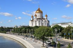 Moscow River, Prechistenskaya Embankment and the Cathedral of Christ the Savior royalty free stock photography