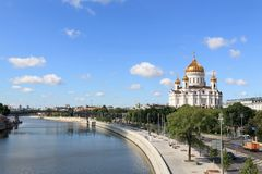 Moscow River, Prechistenskaya Embankment and the Cathedral of Christ the Savior royalty free stock image