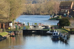 Temple Lock on the River Thames. Outside Marlow taken from distance Royalty Free Stock Photos