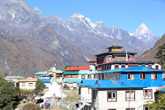 Temple and lodge on the way to everest base camp Stock Photo