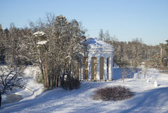 The temple of Love and Friendship winter day. Pavlovsk Park. Russia royalty free stock image