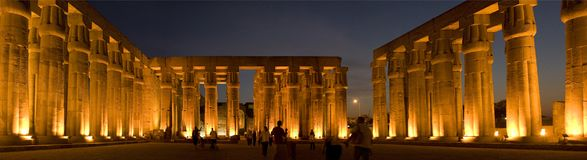 Luxor temple, Egypt. Temple of Luxor in Egypt, night shot with lights on the coloms stock photos