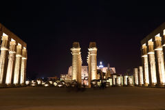 Temple of Luxor at night. Temple of Luxor is Amon god in the vido when a sacrifice in the palace of the Nile Stock Photography