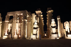Temple of Luxor at night. Temple of Luxor is Amon god in the vido when a sacrifice in the palace of the Nile Royalty Free Stock Photos