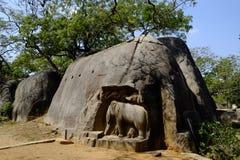 Temple Mahabalipuram. Rock-cut monuments in Mahabalipuram, Tamil Nadu Stock Images