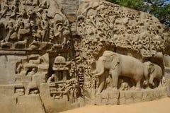 Temple Mahabalipuram. Rock-cut monuments in Mahabalipuram, Tamil Nadu Royalty Free Stock Image