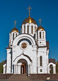 Temple of the Martyr St. George. In the city of Samara on the Volga river bank stock image
