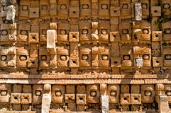 Temple of the Masks, Kabah, Mexico. Temple of the Masks - Codz Poop, Kabah, Yucatan, Mexico Stock Photo