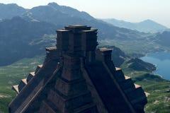 Temple maya éclairé à contre-jour illustration de vecteur