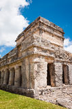 Temple from Mayan ruins in Tulum Mexico Yucatan. One of the well preserved Mayan sites in Tulum, Mexico on Yucatan Peninsula. Part of the precolumbian Maya royalty free stock image