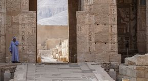 Temple of Medinet Habu. Egypt, Luxor. The Mortuary Temple of Ramesses III at Medinet Habu is an important New Kingdom period. Structure in the West Bank of royalty free stock photography