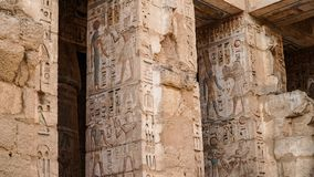 Temple of Medinet Habu. Egypt, Luxor. The Mortuary Temple of Ramesses III at Medinet Habu is an important New Kingdom period. Structure in the West Bank of stock photography