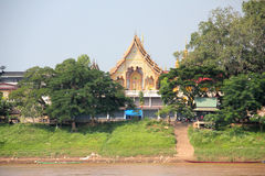 Temple on Mekong river, Laos royalty free stock photo