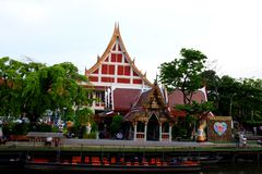 Temple of merit. To make merit at the temple market, shopping, cruising and merit Royalty Free Stock Image