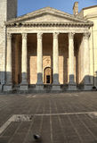 Temple of Minerva Assisi. The ancient Temple of Minerva in Assisi (Italy) built by the Romans in the center of the city, in the late sixth century, Benedictine Stock Photo
