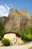 Temple monks, hermits at the foot of Meteora in Greece Royalty Free Stock Images