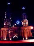 Temple Moon. Bright moon highlights an old mexican temple Royalty Free Stock Photo