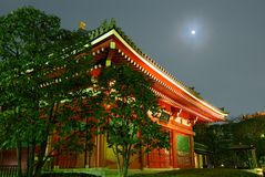 Temple and moon Stock Photography