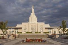 Temple mormon en quelques automnes de l'Idaho, identification image stock