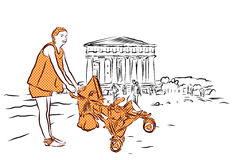 Temple with Mother and Baby in Buggy, Agrigento, Sicily. Stock Photo