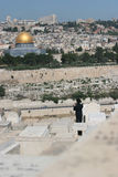 Temple Mount, Dome of the Rock. Young hasidic Jew takes a photograph of The Dome of the Rock from the Mount of olives, Jerusalem,Israel Royalty Free Stock Image