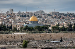 Temple Mount with Dome of the Rock Stock Photo