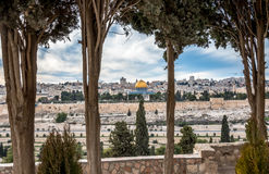 Temple Mount with Dome of the Rock from Dominus Flevit church Royalty Free Stock Images