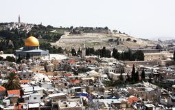 Temple Mount, Jerusalem. Old city of Jerusalem. Temple Mount: Dome on the Rock, Russian church, Westrn Wall, Jewish cemetery. Everything is close Stock Images