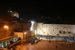 Temple Mount in Jerusalem. View of Temple Mount in Jerusalem, including the Western Wall and golden Dome of the Rock at Night Stock Photo